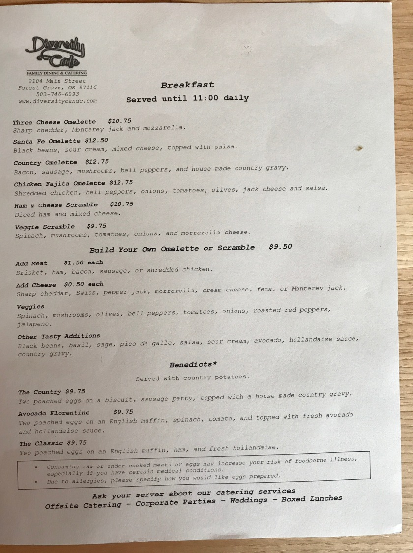 Menu from Diversity Cafe - Lots of selections