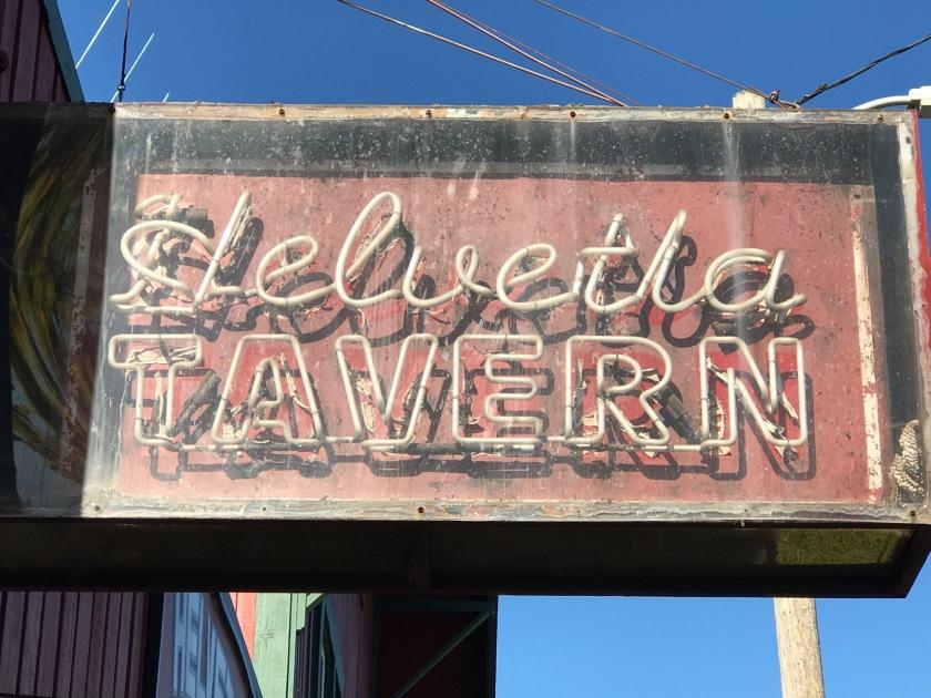 Helvetia Tavern neon sign