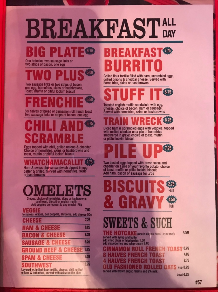 The other side of the menu at Addi's