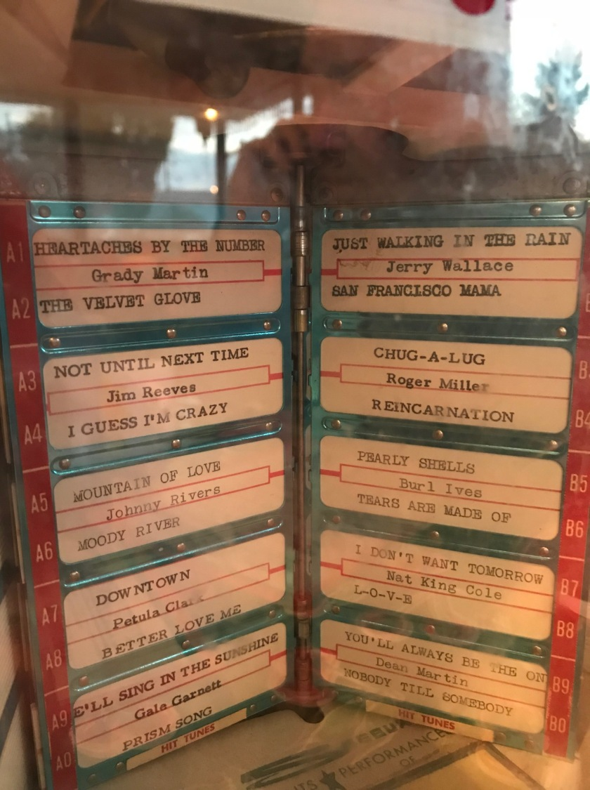 Song list on the small jukebox at the tables - just one page