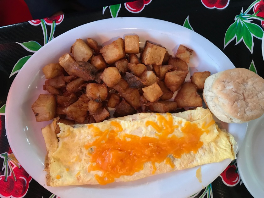 Cheese omelet and home fries are a great breakfast