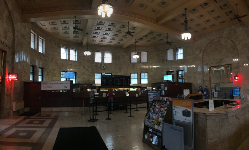 The ticketing counter, information kiosk, and wonderful intricate ceiling