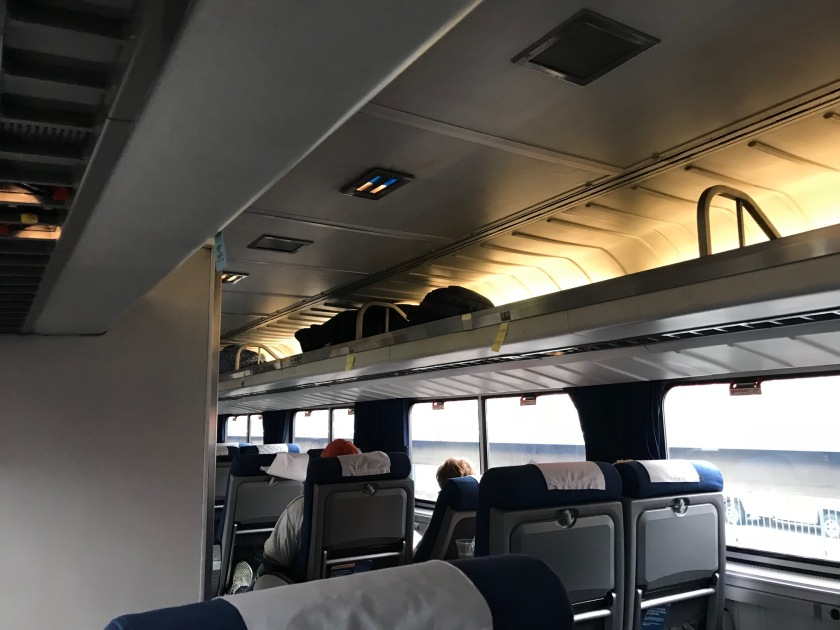 The passenger seating area is comfortable and roomy, but very similar to an airliner seating area