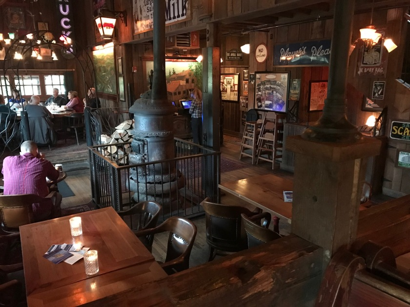 The enclosed stove is also wood-fueled and enhances the vintage look to the Rock Creek Tavern
