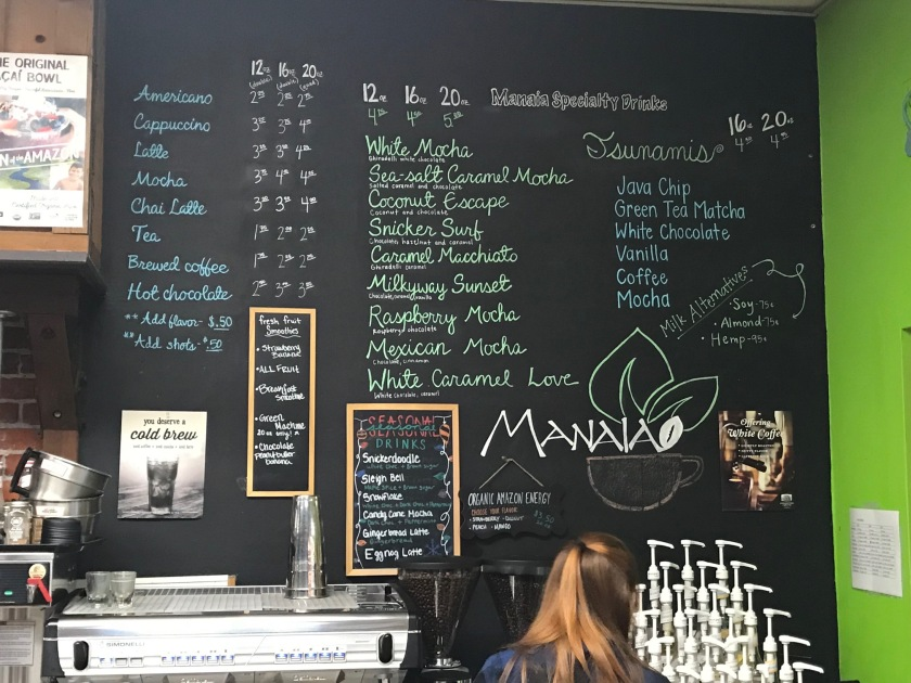 Manaia has several wonderful coffee specialties available