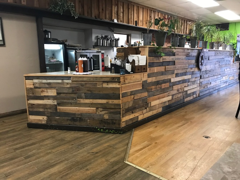 The counter at Manaia looks great - it's mismatched wood looks just amazing