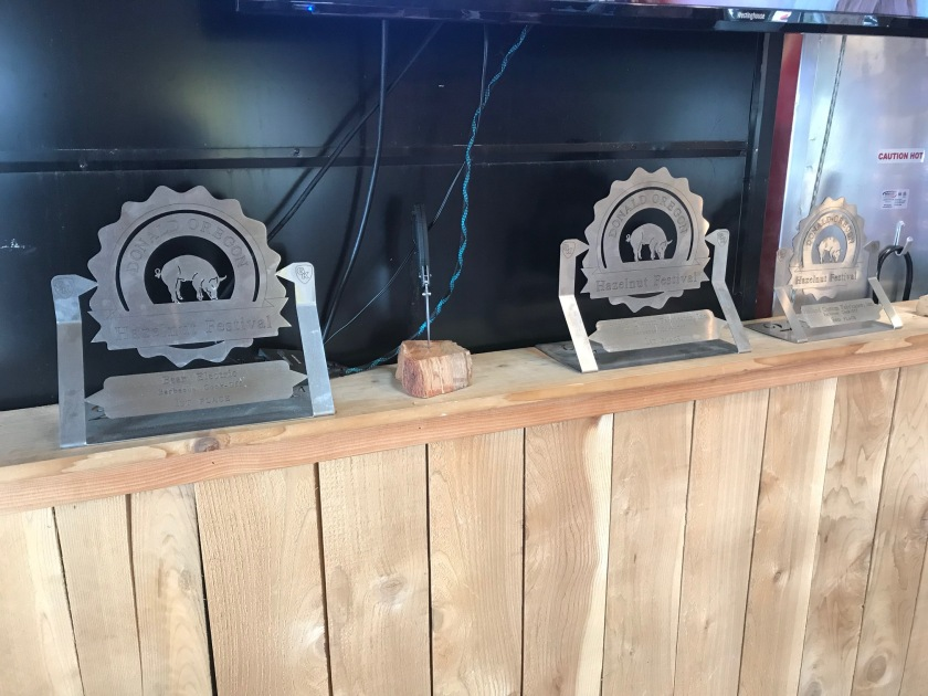 Trophies for wining barbecue contests around Oregon