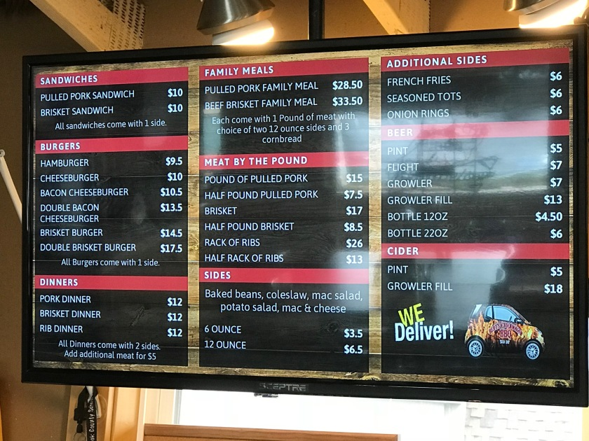 The menu behind the ordering counter can be easily changed and all of their offerings are easily seen